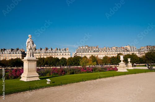 Sculptures in famous Tuileries Garden (Jardin des Tuileries) in