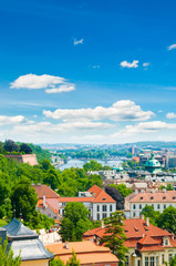 view of Prague city from hill