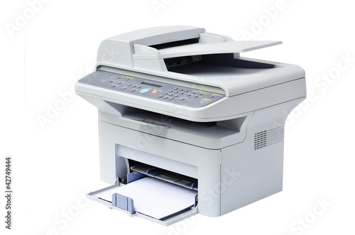 Grey computer printer isolated - 42749444