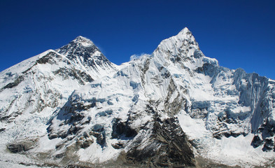Mt Everest and Nuptse to the right in the Himalaya, Nepal.