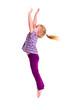studio shot of young girl jumping