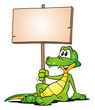 Crocodile relaxed with Board