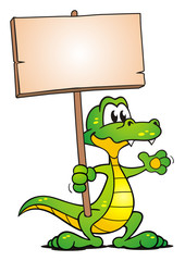 Crocodile holding Board