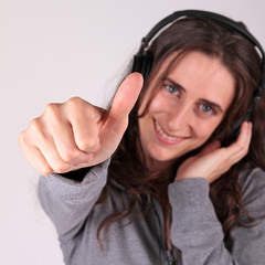 thumbs up, woman and headphones