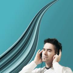 Mann mit Kopfhörer Petrol
