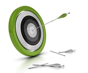 cible vert et flèche au centre, concept réussite