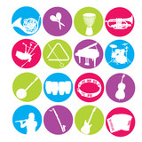 Colorful instrument icon set