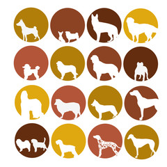 Dog icon set in circle style