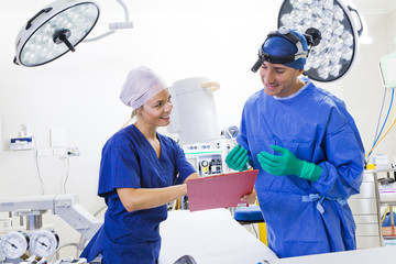 Surgeon and nurse