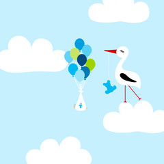 Tall Stork With Teddy Cloud Baby Boy Balloons Blue