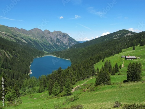 Beautiful blue mountain lake in the Bernese Oberland