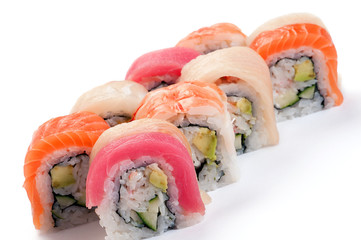 Uramaki. Rainbow. Salmon, tuna, grouper, yellowtail, tiger prawn