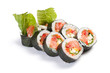 Futomaki. Salman. On a white background. Salmon, tomatoes, Bulga