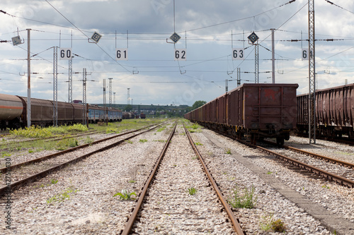 rusty railway line and wagons