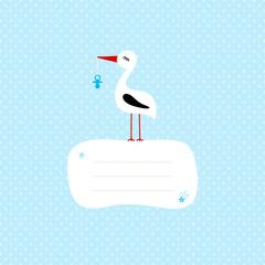 Tall Stork Blue Pacifier Speech Bubble Blue Dots