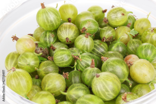 Green gooseberry in glass bowl close-up