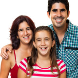 Young hispanic family isolated on white (dad,mom and girl)