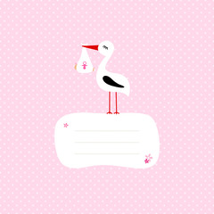 Stork With Baby Girl Speech Bubble Pink Dots