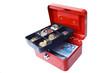 Geldkassette mit Euroscheinen und Euromünzen
