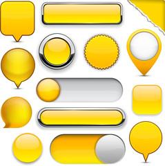 Yellow high-detailed modern buttons.