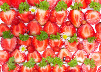 Sliced Strawberries, healthy background