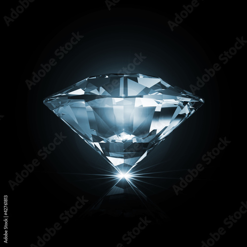 Blue Diamond on black background with glowing rays