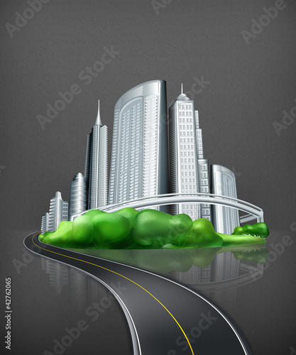 City and road, vector