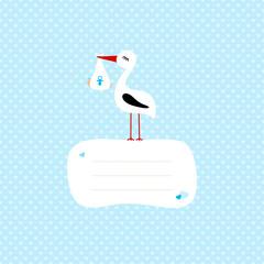 Stork With Baby Boy Speech Bubble Blue Hearts