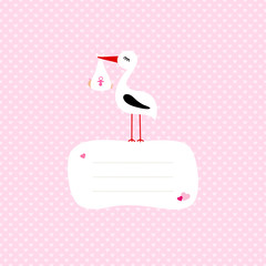 Stork With Baby Girl Speech Bubble Pink Hearts
