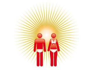 Frau und Mann mit Sonnenbrand vor strahlender Sonne