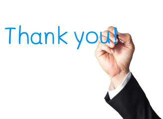 businessman hand writing thank you on white board