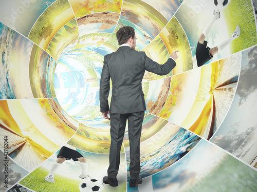 Businessman select an image