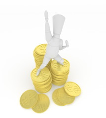 3D mannequin hurrahing on money