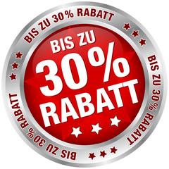 "Button ""Bis zu 30% Rabatt"" rot/silber"