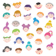 Cute cartoon kids face set