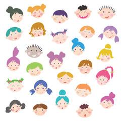 Cute cartoon kids face set
