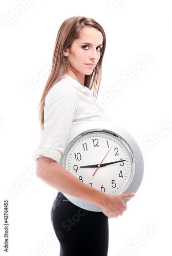 femme avec horloge