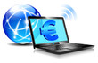Banking Online Pay by internet Euro Laptop