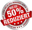 """Button Banner """"Bis zu 50% reduziert"""" rot/silber"""