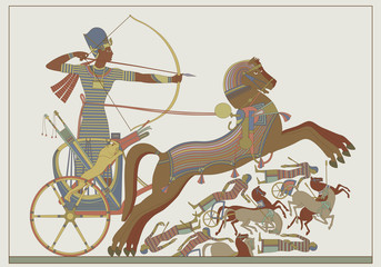 Fresco of the pharaoh Ramses in combat