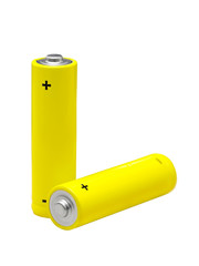 two yellow AA batteries