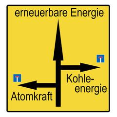 Straßenschild - erneuerbare Enerie