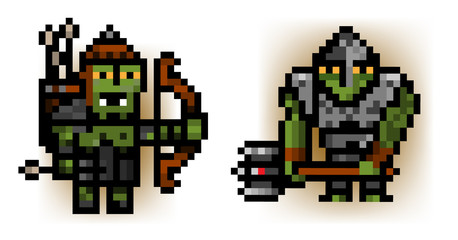 two pixel ork soldiers