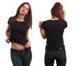 Sexy female wearing blank black shirt