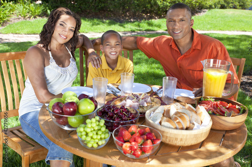 African American Family Eating Healthy Food Outside