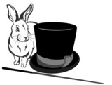 illusionist's equipment - hat, magic wand and bunny