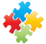 Fototapety four puzzle