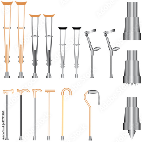 Set of orthopedic equipment (crutches, walking sticks)