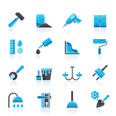 Construction and building equipment Icons - vector icon set 1