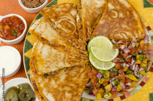 Mexican Spicy Chicken Tinga Quesadillas & Side Dishes